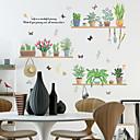 billiga Väggklistermärken-färska gröna krukväxter väggklistermärken - ord&amp amp citat vägg klistermärken karaktärer studie rum / kontor / matsal / kök