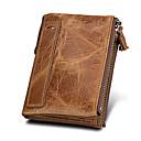 ราคาถูก กระเป๋าตังค์-สำหรับผู้ชาย / สำหรับผู้หญิง หนังวัว กระเป๋าเงิน สีทึบ สีดำ / กาแฟ / สีน้ำตาล