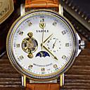 ราคาถูก กางเกงปีนเขาและกางเกงขาสั้น-สำหรับผู้ชาย นาฬิกาเห็นกลไกจักรกล ไขลานอัตโนมัติ หนัง ดำ / ออเรนจ์ / น้ำตาล กันน้ำ ปฏิทิน นาฬิกาใส่ลำลอง ระบบอนาล็อก คลาสสิก ที่เรียบง่าย - สีดำ ส้ม สีน้ำตาล