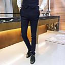 זול מכנסיים ושורטים לגברים-בגדי ריקוד גברים בסיסי חליפות / צ'ינו מכנסיים - משובץ שחור כחול נייבי סגול XXL XXXL XXXXL