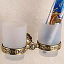 זול מחזיק מברשות שיניים-מחזיק למברשת שיניים יצירתי / אוטומטי עכשווי פליז 2pcs מותקן על הקיר