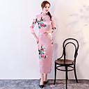 Χαμηλού Κόστους Ethnic & Cultural Κοστούμια-Ενήλικες Γυναικεία Κινέζικο Στυλ Cheongsam Για Στολές Λέσχη Μείγμα Πολυ / Βαμβακιού Midi Cheongsam