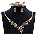 זול עגילים-בגדי ריקוד נשים זהב סטי תכשיטי כלה תגובת שרשרת גַל וינטאג' אבן נוצצת עגילים תכשיטים זהב עבור חתונה ארוסים מתנה 1set