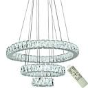 billiga Lyktdesign-nya moderna hänge ljus för vardagsrum matsal 3 cirkel ringar kristall led belysning tak ljuskronor ljus lampa armaturer 110-120v / 220-240v