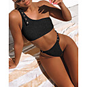 billige Bikinier og damemote-Dame Sporty Grunnleggende Svart Rød Rosa Grime G-streng Snørebinding Bikinikjole Badetøy - Ensfarget Åpen rygg Blondér S M L Svart