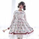 Χαμηλού Κόστους Πετσέτα Πλυσίματος-Γλυκιά Λολίτα Princess Lolita χαριτωμένο στυλ Φορέματα Μπλούζα / Πουκάμισο Στολές Ηρώων Αντικείμενα για Χάλοουιν Όλα Βελούδινο Σιφόν Ιαπωνικά Κοστούμια Cosplay Λευκό Στάμπα Ζώο Φιόγκος Φουσκωτό μακρύ