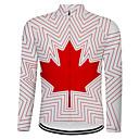 Χαμηλού Κόστους Βιβλίο και φορητοί υπολογιστές-21Grams Καναδάς Εθνική Σημαία Ανδρικά Μακρυμάνικο Φανέλα ποδηλασίας - Λευκό Ποδήλατο Μπολύζες Ανθεκτικό στην υπεριώδη ακτινοβολία Αναπνέει Ύγρανση Αθλητισμός Χειμώνας Προβιά Τερυλίνη / Μικροελαστικό