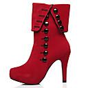 baratos Botas Femininas-Mulheres Botas Sexy Boots Salto Agulha Ponta Redonda Botão Camurça Botas Curtas / Ankle Clássico Inverno Preto / Vermelho