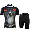 ราคาถูก กางเกงปีนเขาและกางเกงขาสั้น-สำหรับผู้ชาย แขนสั้น Cycling Jersey with Shorts สีดำ / สีขาว กระโหลก จักรยาน ชุดออกกำลังกาย ทน UV ระบายอากาศ Moisture Wicking แห้งเร็ว กีฬา กระโหลก ขี่จักรยานปีนเขา Road Cycling เสื้อผ้าถัก