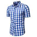 זול בגדי ריצה-משובץ / משובץ דמקה צווארון קלאסי וינטאג' / בסיסי עבודה כותנה, חולצה - בגדי ריקוד גברים דפוס אפור