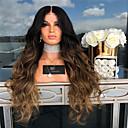 Χαμηλού Κόστους Συνθετικές περούκες με δαντέλα-Περούκες από Ανθρώπινη Τρίχα Κατσαρά Ίσια Μέσο μέρος Περούκα Μακρύ Σκούρο καφέ / Σκούρο Auburn Συνθετικά μαλλιά 22 inch Γυναικεία Γυναικεία Σκούρο Καφέ