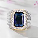 billige Herreringer-Herre Ring Syntetisk akvamarin 1pc Gull Titanium Stål Geometrisk Form Stilfull Fest Gave Smykker Klassisk Lykkelig Kul