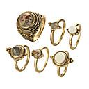 billige Vintage Ring-Dame Ring Set Kubisk Zirkonium 6pcs Gull / Svart Legering Sirkelformet Europeisk Bryllup Smykker Søtt