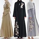 Χαμηλού Κόστους Ethnic & Cultural Κοστούμια-Παραδοσιακή & Πολιτιστική Φορά Αμπάγια Γυναικεία Καθημερινά Ρούχα Σιφόν Κέντημα Μακρυμάνικο Αμπάγια