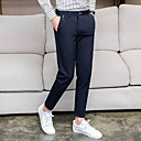 זול מכנסיים ושורטים לגברים-בגדי ריקוד גברים בסיסי חליפות / צ'ינו מכנסיים - אחיד שחור כחול נייבי 32 33 34