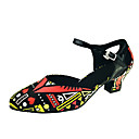 ราคาถูก รองเท้าเต้นโมเดิร์นและรองเท้าบัลเล่ต์-สำหรับผู้หญิง รองเท้าเต้นรำ PU โมเดอร์น Splicing ส้น หนา Heel ตัดเฉพาะได้ สายรุ้ง / Performance