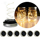 billige Taklamper-ledet lanterne solmason kan dekke streng lys christmas gave blomst dekorasjon lys 2m streng lys 20 leds rgb / varm hvit bedårende / christmas bryllup dekorasjon / kreative solenergi drevet 6pcs