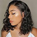 זול פיאות תחרה משיער אנושי-שיער אנושי חזית תחרה פאה תספורת בוב בוב קצר חלק צד בסגנון שיער ברזיאלי גלי שחור פאה 130% צפיפות שיער עם שיער בייבי שיער טבעי לנשים שחורות בתולה100% 100% קשירה ידנית בגדי ריקוד נשים קצר