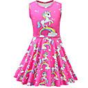 Χαμηλού Κόστους Φορέματα για κορίτσια-Παιδιά Νήπιο Κοριτσίστικα Ενεργό Κομψό στυλ street Unicorn Κινούμενα σχέδια Αμάνικο Πάνω από το Γόνατο Φόρεμα Φούξια