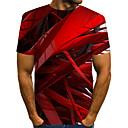 baratos Botas Femininas-Homens Tamanho Europeu / Americano Camiseta - Bandagem Moda de Rua / Exagerado Estampado, Estampa Colorida / 3D / Gráfico Decote Redondo Vermelho / Manga Curta