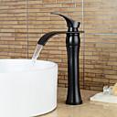 Χαμηλού Κόστους Βρύσες Νιπτήρα Μπάνιου-Ρύθμιση βρύσης - Καταρράκτης Μαύρο Αναμεικτικές με ενιαίες βαλβίδες Ενιαία Χειριστείτε μια τρύπαBath Taps