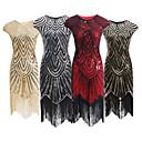 Χαμηλού Κόστους Ethnic & Cultural Κοστούμια-The Great Gatsby Τσάρλεστον Βίντατζ 1920s Gatsby Χρυσή δεκαετία του '20 Φανελάκι φόρεμα Γυναικεία Πούλιες Στολές Χρυσαφί / Μαύρο+ Χρυσό / Μαύρο+Ασημί Πεπαλαιωμένο Cosplay