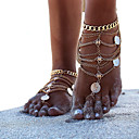 cheap Body Jewelry-Women's Barefoot Sandals Ankle Bracelet Coin Simple Casual / Sporty Fashion Anklet Jewelry Gold / Silver For Daily Carnival Street Holiday