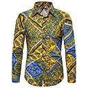 זול ארנקים-גראפי / שבטי צווארון קלאסי מוּגזָם מועדונים חולצה - בגדי ריקוד גברים דפוס צהוב / שרוול ארוך