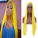 Χαμηλού Κόστους Ηχεία-Συνθετικές Περούκες Συνθετικές μπροστινές περούκες δαντέλας Περούκες Στολών Φυσικό ευθεία Μέσο μέρος Δαντέλα Μπροστά Περούκα Χρυσό Μακρύ Κίτρινο Συνθετικά μαλλιά 24 inch Γυναικεία