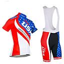 povoljno Biciklističke majice i kompleti-21Grams American / USA Državne zastave Muškarci Kratkih rukava Biciklistička majica s kratkim tregericama - Crna / crvena Red+Blue Bicikl Sportska odijela Prozračnost Ovlaživanje Quick dry Sportski