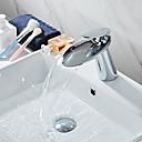 olcso Fürdőszobai kagyló csaptelep-Csaptelep - Vízesés Króm Három lyukas Egy fogantyú egy lyukkalBath Taps