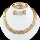 billiga Jewelry Set-Dam Guld Brud Smyckeset Länk / Kedja Våg Vintage Bergkristall örhängen Smycken Guld Till Bröllop Förlovning Gåva 1set / Örhängen
