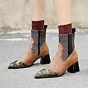 זול מגפי נשים-בגדי ריקוד נשים מגפיים Fashion Boots עקב עבה בוהן מחודדת PU מגפיים באורך אמצע - חצי שוק וינטאג' / בריטי סתיו חורף שחור / חום / מסיבה וערב