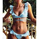 billige Bikinier og damemote-Dame Grunnleggende Bohem Lyseblå Grime G-streng Cheeky Snørebinding Bikinikjole Badetøy - Ensfarget Blomstret Blondér Broderi S M L Lyseblå