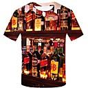 billige T-skjorter og singleter til herrer-Bomull Rund hals Store størrelser T-skjorte Herre - Geometrisk / 3D / Grafisk, Trykt mønster Gatemote / overdrevet Regnbue / Kortermet