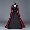 Χαμηλού Κόστους Στολές της παλιάς εποχής-Πριγκίπισσα Μαρία Αντωνιέτα Floral Style Rococo Victorian Αναγέννησης Φορέματα Κοστούμι πάρτι Χορός μεταμφιεσμένων Γυναικεία Δαντέλα Δαντέλα Στολές Κόκκινο+Μαύρο Πεπαλαιωμένο Cosplay