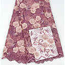 ราคาถูก African Lace-ลูกไม้แอฟริกัน ลวดลายดอกไม้ Pattern 125 cm ความกว้าง ผ้า สำหรับ เกี่ยวกับเจ้าสาว ขาย โดย 5Yard