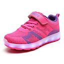 זול LED Shoes-בנים / בנות נעליים זוהרות דמוי עור / Flyknit נעלי ספורט ילדים קטנים (4-7) / ילדים גדולים (7 שנים +) הליכה LED כחול כהה / כחול / ורוד אביב / קיץ / גומי