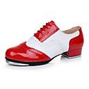 povoljno Obuća za dvoranski ples i moderne plesove-Muškarci Plesne cipele Koža Cipele za step Štikle Debela peta Moguće personalizirati Crvena / bijela / Seksi blagdanski kostimi / Vježbanje