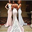 זול שמלות שושבינה-בתולת ים \ חצוצרה רצועות ספגטי שובל קורט סאטן שמלה לשושבינה  עם אפליקציות / תחרה על ידי JUDY&JULIA