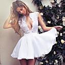 baratos Pulseiras Masculinas-Mulheres Evasê Vestido Decote em V Profundo Acima do Joelho