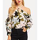 ราคาถูก ตุ้มหู-สำหรับผู้หญิง เสื้อสตรี ลายพิมพ์ คล้องไหล่ เพรียวบาง ลายดอกไม้ ใบไม้สีเขียวที่มีสามแฉก