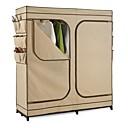 ราคาถูก อุปกรณ์จัดเก็บ-ตู้เสื้อผ้าสองประตูสีกากีตู้เสื้อผ้าตู้เสื้อผ้าแบบพกพาพร้อมที่เก็บรองเท้า