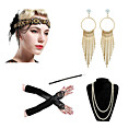 cheap Ballroom Shoes & Modern Dance Shoes-Charleston Vintage 1920s The Great Gatsby Costume Accessory Sets Gloves Flapper Headband Women's Feather Costume Necklace Earrings Black / Red black / Black+Golden Vintage Cosplay Festival