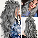 cheap Human Hair Wigs-Human Hair Lace Wig Water Wave Style Middle Part Wig Long Grey Synthetic Hair 26 inch Women's Women Dark Gray Wig