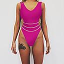 billige Bikinier og damemote-Dame Sporty Grunnleggende Svart Rød Fuksia Trekant G-streng Cheeky En del Badetøy - Ensfarget Åpen rygg S M L Svart