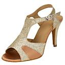 זול נעלי עקב לנשים-בגדי ריקוד נשים נעלי ריקוד סינטטיים נעליים לטיניות שחבור עקבים סלים גבוהה עקב מותאם אישית זהב / הצגה / עור