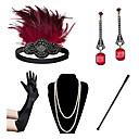 povoljno Stare svjetske nošnje-Čarlston Vintage 1920s Gatsby Setovi dodataka za kostime Rukavice Traka za kosu u stilu 20-ih Žene Kostim Ogrlica Naušnica Red+Black / Red+Golden / Blue + Red Vintage Cosplay Festival