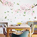 billiga Väggklistermärken-rosa blommor och fåglar vägg klistermärken - 3d vägg klistermärken blommig / botanisk / landskap studie rum / kontor / matsal / kök