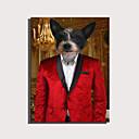 billige Luksuriøse dynetrekk-e-home strukket lerret kunst søt dyr serien - rød gentleman hund dekorasjon maleri en stk